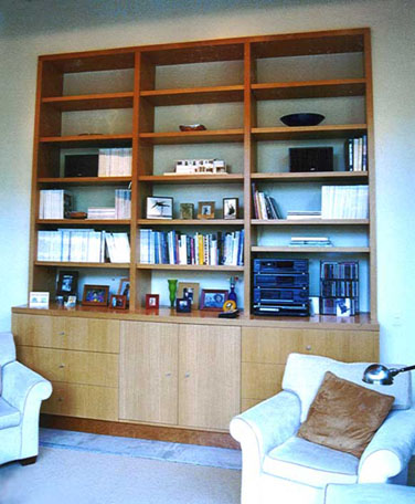 Rift White Oak Display Media Center and Cabinet