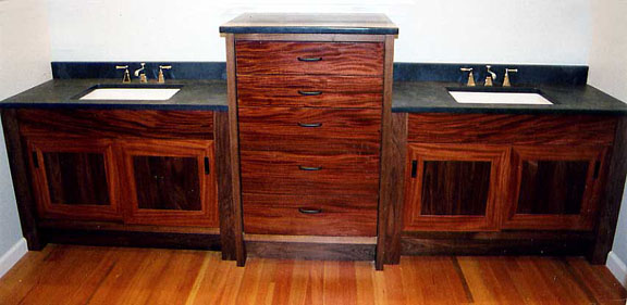 Ribbon African Mahogany and Walnut Vanity
