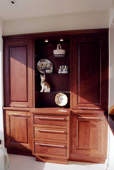 Walnut Built-in Buffet and Display Cabinet