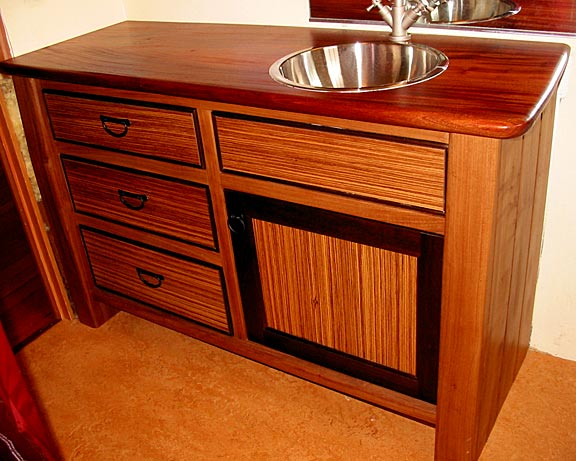 Elm, Zebrawood and Peruvian Walnut Vanity