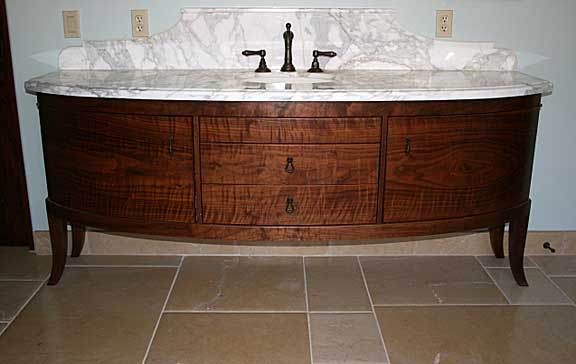 Walnut Curved Vanity Furniture