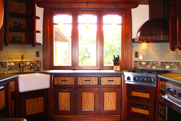 Ribbon African Mahogany and Mango Wood  Kitchen