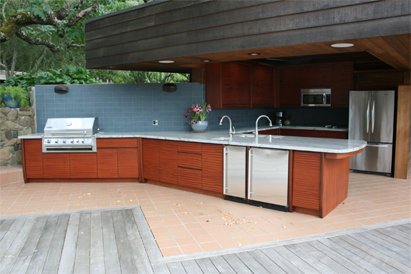 Sapele Wood Outdoor Kitchen