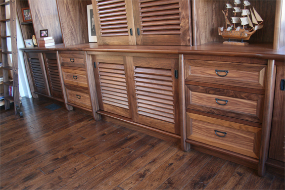 Custom walnut built-in with drawers and cabinets petaluma