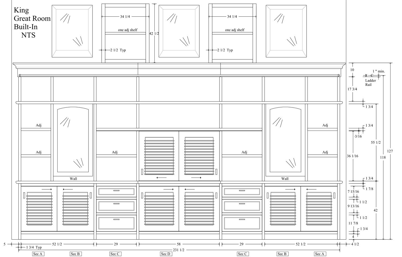 CAD drawing design of walnut media center