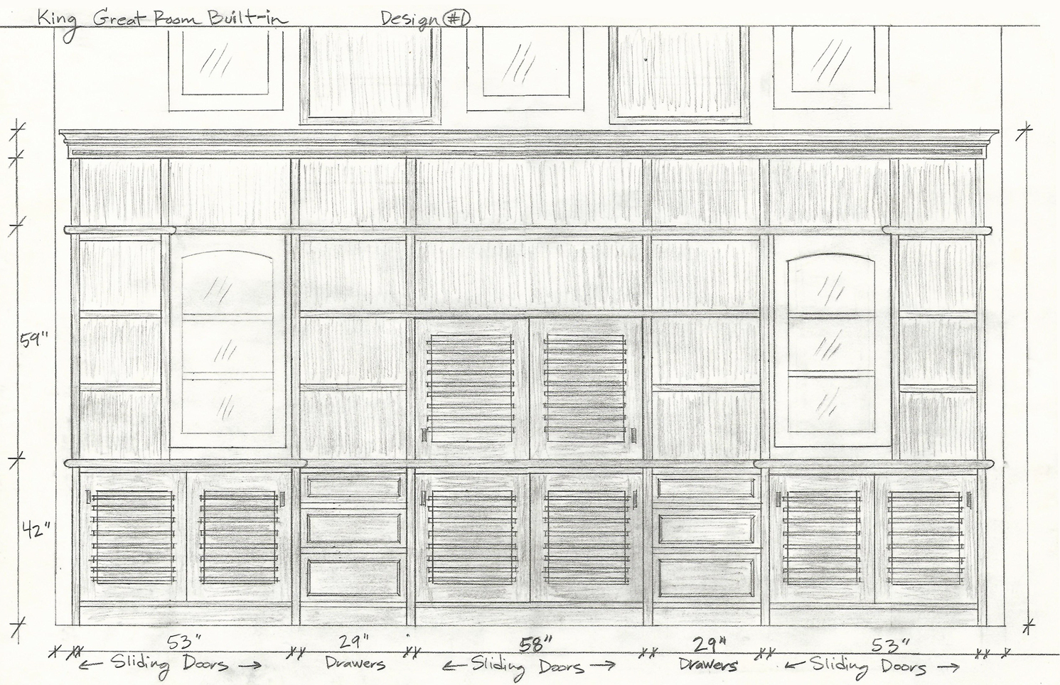 pencil sketch design of walnut media center