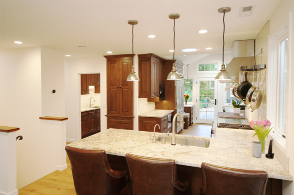 walnut kitchen from counter view