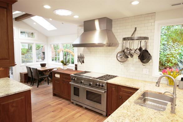 walnut kitchen view of hood